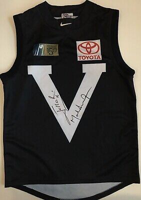 AU199 • Buy JONATHAN BROWN MARK THOMPSON Signed Jumper Captain&Coach BIG V 150 Years AFL COA