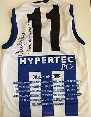 AU199 • Buy GLENN ARCHER Signed Jumper North Melbourne Kangaroos AFL Career Shinboner COA