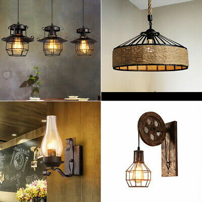 Retro Industrial Wall Lamp Vintage Light Shade Ceiling Sconce Lantern Fixture • 16.79£