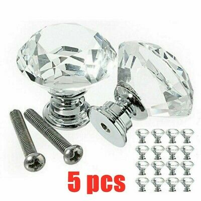 5Pcs Door Knobs Clear Crystal Glass Diamond Cupboard Cabinet Drawer Handles UK • 5.59£