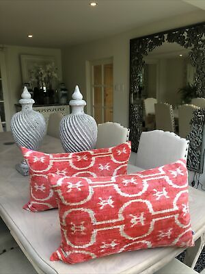 Pair Of Stunning Wolf And Badger Punica Velvet Ikat Cushions New • 110£