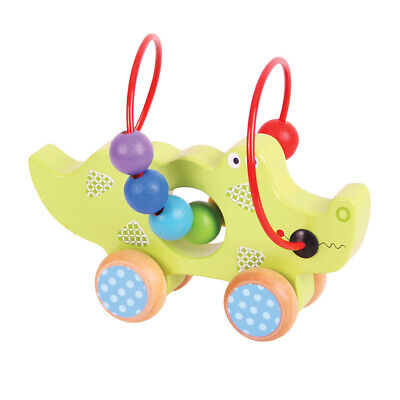 Bigjigs Toys Wooden Crocodile Push And Pull Along Bead Frame For Toddler Child • 9.98£