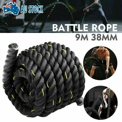 AU46.99 • Buy 9M Heavy Duty Home Gym Battle Rope Battling Strength Training Exercise Fitness