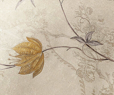 Quality Cream Gold & Lilac Floral Nature Pattern Embossed Damask 3d Wallpaper • 8.97£