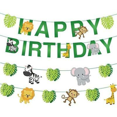 AU14.99 • Buy Jungle Theme Animals Baby 1st Birthday Banner Bunting Safari Party Decoration