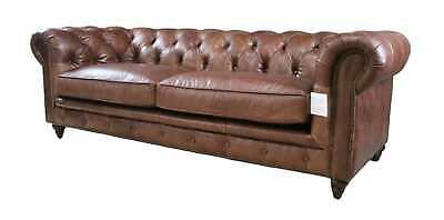 £1455.60 • Buy **BRAND NEW** Modern Real Smooth Leather 3 Seater Couch Halo In Brown Sofa