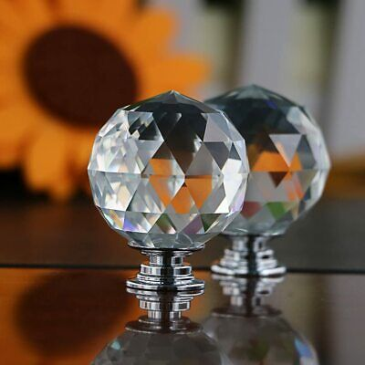 Diamond Crystal Glass Door Knobs Clear Cupboard Drawer Furniture Handle Cabinet • 4.75£
