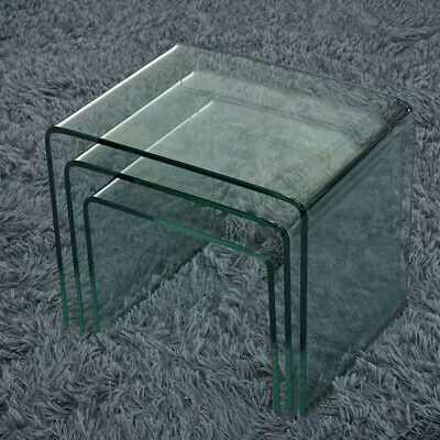 Set Of 3 Glass Nest Of Side Tables For Cafe Coffee Curved Glass Nested Table NEW • 79.99£
