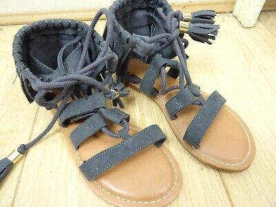 BNWoT NEXT Girls Sandals Flat Suede Gladiator Style Lace Up Girls Size 12  S168 • 7.99£