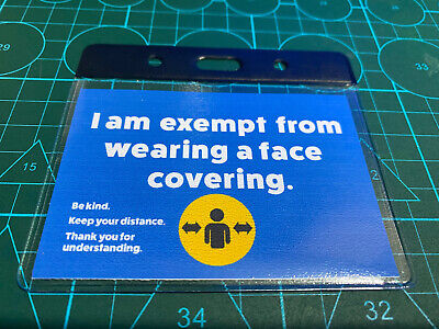 Exemption From Facial Covering Id Card And Holder Only Blue Covering Exempt • 2.35£