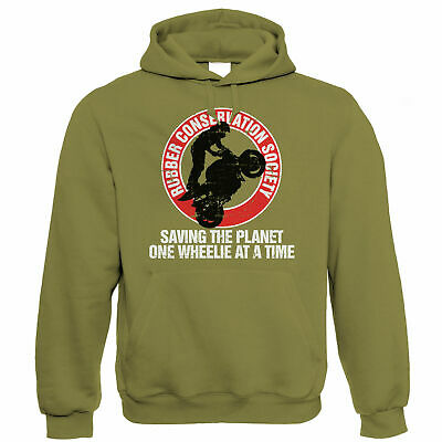 Rubber Conservation Society, Mens Funny Biker Hoodie - Gift For Him Dad • 24.99£