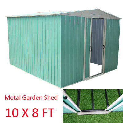 Metal Garden Shed 10 X 8 Large Outdoor Storage Unit Apex Roof With Sliding Door • 409.99£