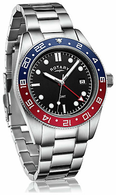 Rotary Mens Black Dial Red/Blue Tachymeter Bracelet Watch Gents GB03013/04 • 85.49£