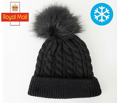 £3.99 • Buy Childrens Boys Girls Ribbed Knitted Beanie Bobble Hat With Pom Pom HAT