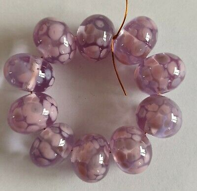 10 Transparent Lilac With Rose & Frit Lilac Lampwork Beads Sra _ • 5.44£