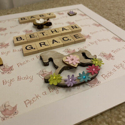Scrabble Picture Frame Personalised Handmade Gift - BOY / GIRL 58 BACKGROUNDS • 14.99£
