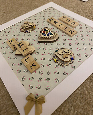 Scrabble Picture Frame Personalised Handmade Gift - FAMILY HOME 58 BACKGROUNDS • 14.99£