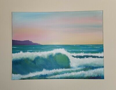 Original Canvas Painting. Sea At Sunset. Waves Painted In Bob Ross Style.  • 22£