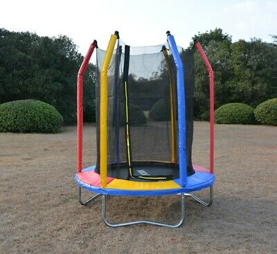 AU135 • Buy 6ft Rainbow Mini Trampoline & Enclosure Set For Indoor And Outdoor
