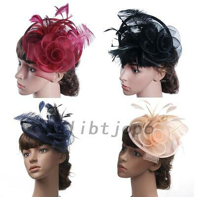 AU10.99 • Buy Large Feather Headband Aliceband Hat Fascinator Cap Clip For Wedding Party