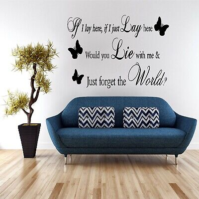 Wall Art Sticker Quote Decal Vinyl Transfer Kitchen Home If I Lay Here Lyrics • 9.99£