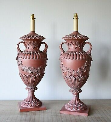 A Pair Of Vintage Faux Terracotta Swedish Urn Shape Bed Side Table Hall Lamps • 795£