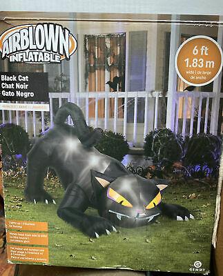 $ CDN150.62 • Buy HALLOWEEN 6 FT BLACK CAT GEMMY  INFLATABLE AIRBLOWN Animated, Lights Up.