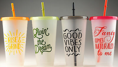 4 Plastic Reusable Eco Friendly Fun Slogan Cups With Lids And Reusable Straws • 11.99£