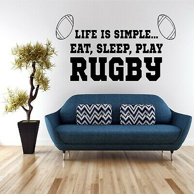 £15.99 • Buy Wall Art Sticker Quote Decal Vinyl Transfer Kitchen Home Life Is Simple Rugby