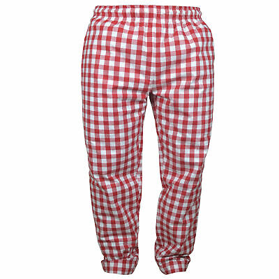 £9.99 • Buy 100% Cotton LARGE CHECK TROUSER UNISEX PANT RED & WHITE KITCHEN CHEF CATER FOOD