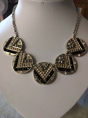 £6.99 • Buy Statement Necklace By Oasis In Black And Silver Tone