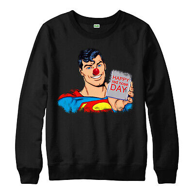 Superman Red Nose Day Jumper, Superhero DC Comic Funny Comic Relief Event Top • 15.99£