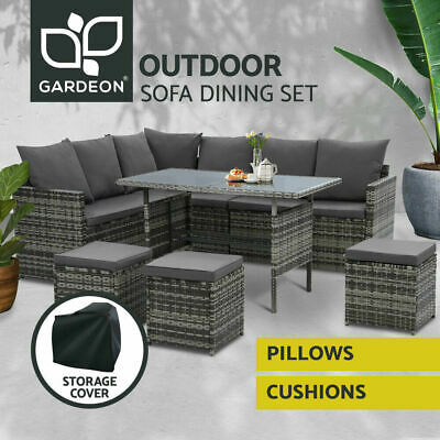 AU767.90 • Buy Gardeon Outdoor Dining Set Sofa Lounge Setting Chairs Table W/ Cover Lawn Grey