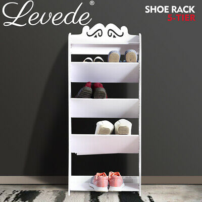 AU29.99 • Buy Levede Shoe Rack 5-Tiers Storage Cabinet Organiser Shoes Shelf Stand White