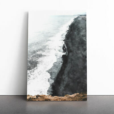 £22.95 • Buy Black Sand Beach In Iceland Abstract Painting Wall Art Canvas Print Picture