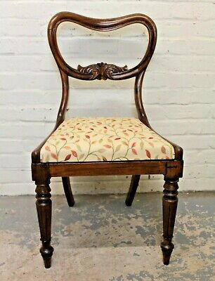 £59.99 • Buy Antique Victorian Rosewood Kidney Back & Floral Upholstered Bedroom Dining Chair