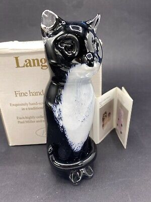 Langham Hand Made Art Glass Paperweight Large 16cm Sitting Cat In Black - Boxed • 45£