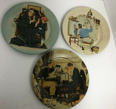 $ CDN9.95 • Buy Lot 3 Toleware Metal Plates Norman Rockwell 1981 Saying Grace Doctor And Doll