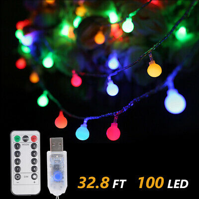 Globe String Lights USB 10M 100LEDs Outdoor Fairy Lights 8 Modes Remote Control • 8.99£