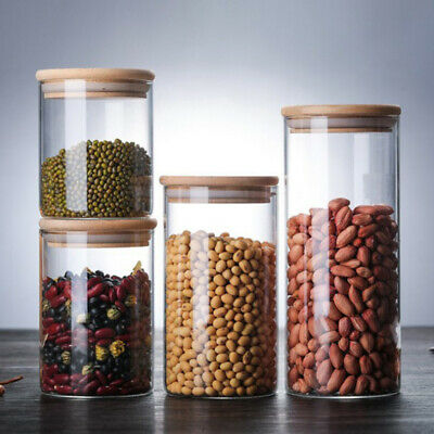 Glass Jar With Bamboo Lid Sealed Canister Food Storage Bottles Container Storage • 4.98£