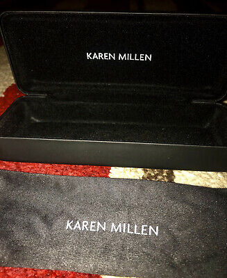 KAREN MILLEN Black Glasses Hard Case Cleaning Cloth Included BNWOT Immaculate • 5£