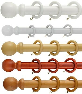 £29.99 • Buy 28mm Wooden Curtain Poles Fixed Length Classic Ball Finials Curtain Pole