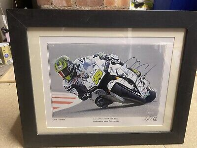 Cal Crutchlow Signed And Framed Print With Stamped Certification Number 7/20 • 50£