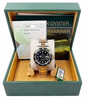 $ CDN14504.35 • Buy Rolex Submariner 16613 Black Dial 18K Yellow Gold Stainless Steel Box Papers