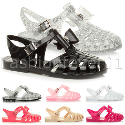 £6.99 • Buy Womens Girls Kids Flat Bow Gladiator Strappy Jelly Summer Sandals Shoes Size
