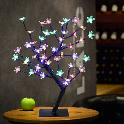 COLORFUL Cherry Blossom Easter Bonsai Tree Table Lamp Decoration LED Twig Lights • 18.99£