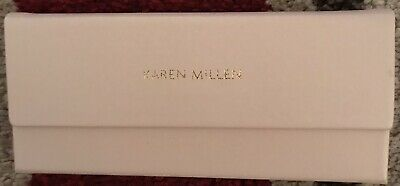 KAREN MILLEN Foldable Triangular Glasses Case Pale Pink KM Embossed Cloth New • 5£