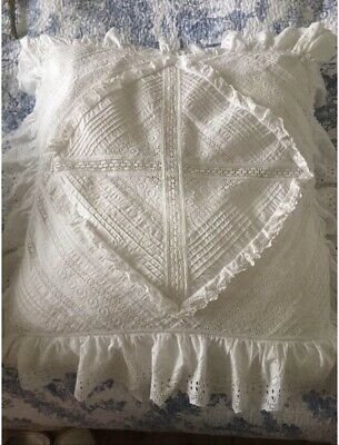 Large Antique Handmade Lace Pillow Covers • 45£