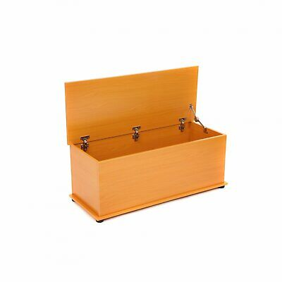 £37.99 • Buy NEW! Beech Effect Wooden Storage Chest Ottoman Blanket Box Toy Chest Trunk