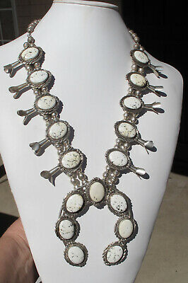 $ CDN2220.23 • Buy Vintage Sterling Squash Blossom 24  Necklace~ Genuine White Buffalo Turquoise